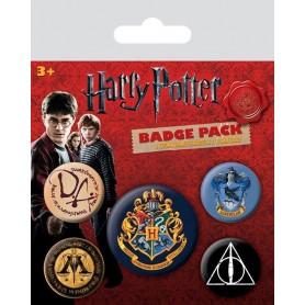 Harry Potter pack 5 badges Hogwarts