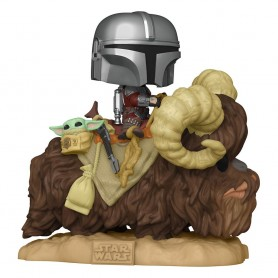 Star Wars The Mandalorian POP! Deluxe Vinyl figurine The Mandalorian on Wantha with Child in Bag