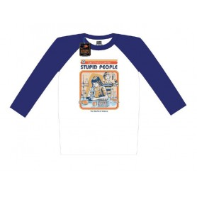 Steven Rhodes T-Shirt Baseball Raglan Let's Find A Cure For Stupid People (M)