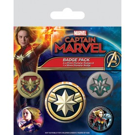 Captain Marvel pack 5 badges Patches