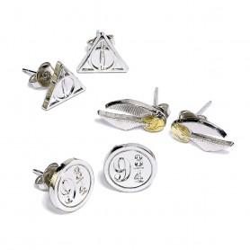 Harry Potter pack 3 boucles d'oreille Snitch/Deathly Hallows/Platform 9 3/4 (plaqué argent)