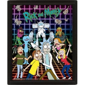 Rick et Morty pack posters effet 3D encadré Characters Grid 26 x 20 cm (3)