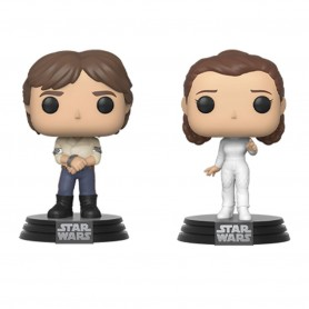Star Wars pack 2 POP! Movies Vinyl figurines Han & Leia Empire Strikes Back 40th Anniversary 9 cm