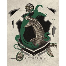 Harry Potter lithographie Slytherin 36 x 28 cm