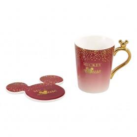 Disney mug avec sous-verre Mickey Berry Glitter