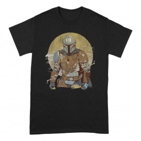 Star Wars The Mandalorian T-Shirt Distressed Warrior (S)