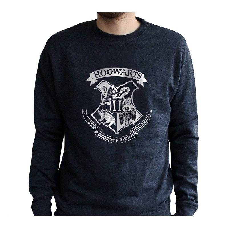 Harry Potter Poudlard Embl/ème Blanc Sweat-Shirt /à Capuche Premium pour Hommes