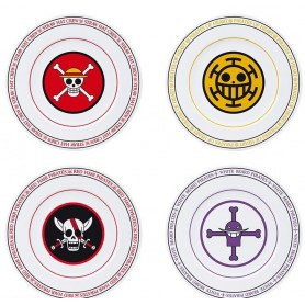 ONE PIECE - Set de 4 Assiettes - Emblèmes
