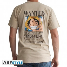 XS-ONE PIECE - Tshirt Wanted Luffy homme MC sand - basic - Taille : Ex