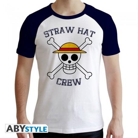 L-ONE PIECE - Tshirt Skull homme MC blanc et bleu - premium - L