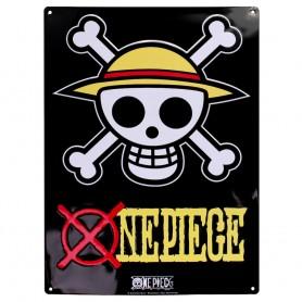 "ONE PIECE Plaque métal ""Skull Luffy"" (28x38) Broch."